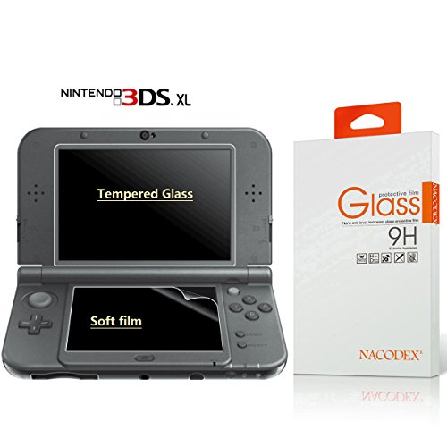 Screen Protector for Nintendo New 3DS XL/ 3DS XL, Nacodex Tempered Glass for Top Screen and HD Clear Crystal PET Film for Bottom Screen, 3DSXL HD Film Accessory [Compatible with 2012 and New 2015]