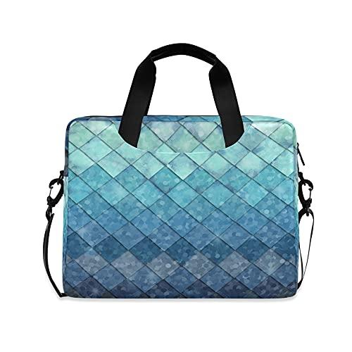 Azul Sirena Niñas 14 pulgadas portátil bolsa escalas geométricas rombo niños 10 Tablets caso manga bolsos para la escuela secundaria mujeres 15.6 ordenador bolsa maletín