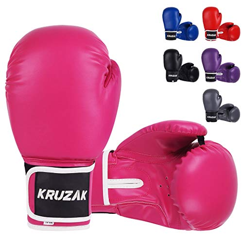 Kruzak Plain Boxing Gloves for Sparring, Kickboxing, Muay Thai, Martial Arts & MMA Fighting - Men & Women Punch Bag Mitts Training and Focus Pads Punching (Pink, 14 oz)