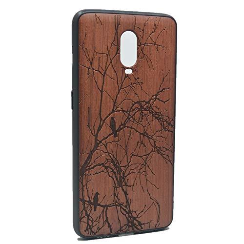 RoseFlower® Holz Schutzhülle für OnePlus 6T (6,41 Zoll) - Palisander Baum Handyhülle mit TPU Bumper - Natürliche Handgemachte Holzhülle Hardcase Hülle Handytasche Handy Case Cover