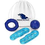 Freecrows - Separadores de dedos grandes/fortalecedor de mano para entrenamiento/juego de pelotas de masaje con pinchos - Estirador de pies de gel azul para combatir juanetes