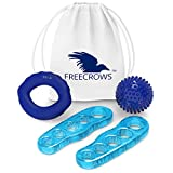 Freecrows - Big Toe separatori / Hand Grip Strengthener allenamento / Spiky Massage Ball set - Blue Gel Foot Stretcher per combattere alluce valgo - Hammer Toe fitness kit
