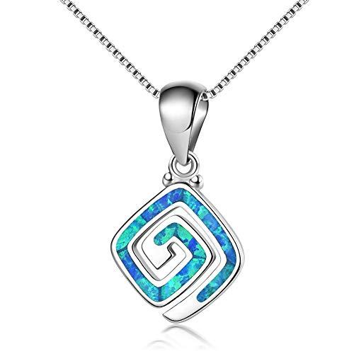 Collar colgante de viento de laberinto en espiral con incrustaciones de ópalo cuadrado azul para mujer para novia plata de ley 925-blue-One size