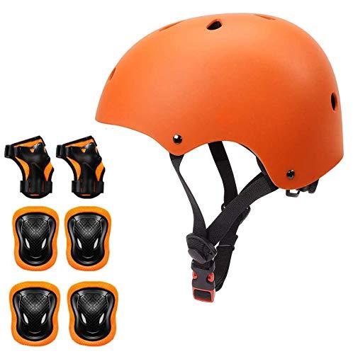 KORIMEFA Kinder Fahrradhelm Set Protektoren Set Schutzausrüstung Schonerset Protektoren Kinder für Kinderroller Skateboard Radfahren Skateboard 3-8 Alt Junge Mädchen (Orange, M)