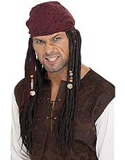 Smiffy'S 42078 Peluca Y Pañuelo De Pirata Con Trenzas, Marrón, Tamaño Único