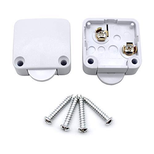 Mila-Amaz 2Pcs Interruttori per Porte per Armadietti Switch Push Porta Interruttore ON/OFF 250V 2A Surface Spingere per Interrompere, Bianco