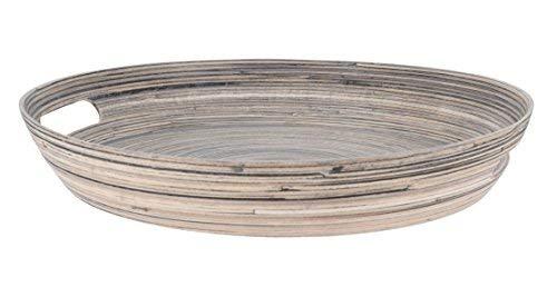 Spetebo Deko Bambus Tablett - 38,5 x 5,5 cm - Holz Tischdeko Schale rund Obstschale Holzschale