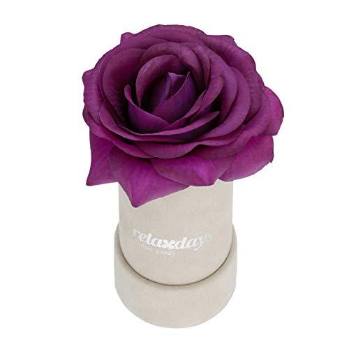 Relaxdays Rosenbox r&, 1 Rose, stabile Flowerbox grau, 10 Jahre haltbar, Geschenkidee, dekorative Blumenbox, lila