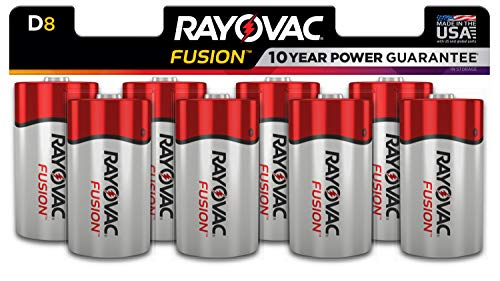 Rayovac Fusion D Batteries, Premium Alkaline D Cell Batteries (8 Battery Count)