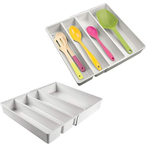MDESIGN 2er-Set Verstellbarer Schubladeneinsatz – praktischer Büro Organizer mit 4 Fächern – Schubladentrenner aus BPA-freiem Kunststoff für Schrank und Kommode – hellgrau
