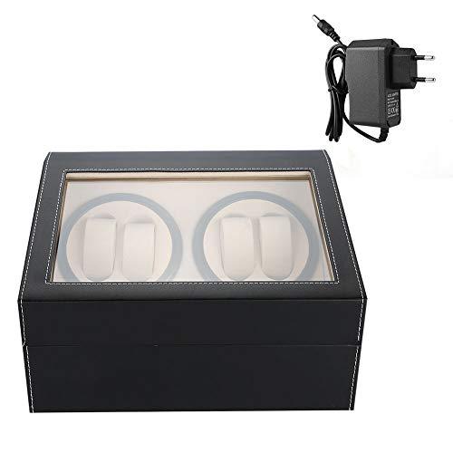 Uhrenbeweger Box, Hochwertige Automatische Luxus Uhrenbeweger für 4 Automatikuhren und 6 Grids Uhr Aufbewahrungsbox(Schwarz + EU-Stecker)