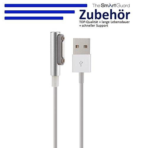 TheSmartGuard Ladekabel kompatibel für Sony Xperia Z3 Compact Magnet Ladekabel und integrierter LED Anzeige für den Ladestrom in Silber - NEU mit überarbeiteter Ladegeschwindigkeit! - Länge: 1 Meter
