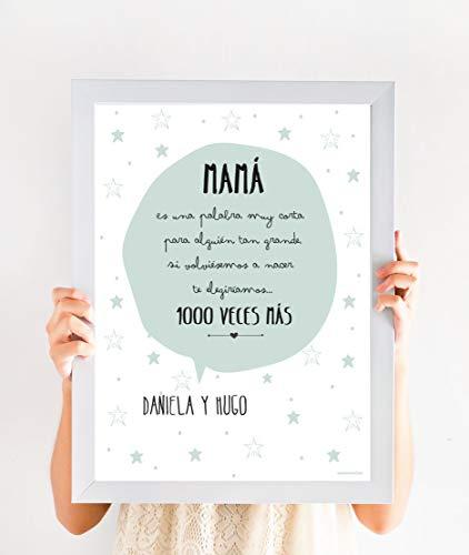 Cuadro Personalizado Día de La Madre | Regalo mamá personalizado con nombres (MENTA, 2 NOMBRES)