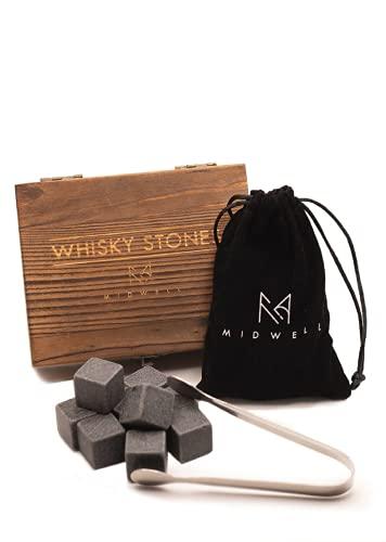 MIDWELL Whisky Steine Set - 9 Wiederverwendbare Eiswürfel aus Basalt mit Samtbeutel, Edelstahlzange & Holzkiste - Geschmacksneutral & ohne Verwässern + E-Book - Geschenkset für Whiskey, Gin & Rum