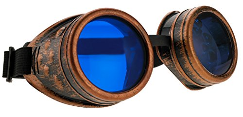 4sold Steampunk Blue Lenses Black Cyber Goggles Rave Goth Vintage Victorian...