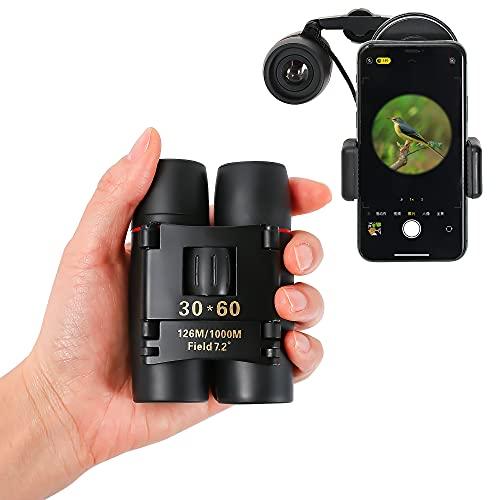 Prismáticos Niños y Adultos, 30 x 60, Compactos, Adaptador Universal Compatible con el Teléfono, Binocular, para Adultos, Observación de Aves, Caza al Aire Libre, Senderismo.