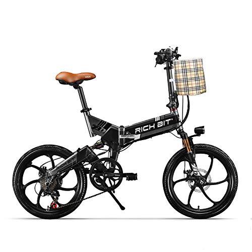 RICH BIT ZDC RT-730 Bicicleta eléctrica Plegable de 20 Pulgadas 48v 8ah batería Oculta Hidden Libre de impuestos (Negro (con Cesta Delantera))