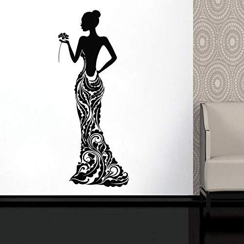 KBIASD Beautiful African Woman Vinyl Sticker Model Girl Dress Rose Bobo Pattern Home Decor Ideas Room Interior Bedroom Wall Art 42x105cm
