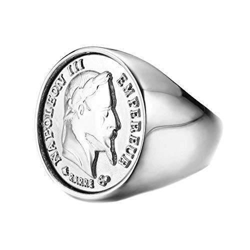 BOBIJOO JEWELRY - Anello con Sigillo di NAPOLEONE Moneta da 20 Franchi Tête Laurée Acciaio 316L Argento Louis - 24 (11 US), Acciaio Inossidabile 316