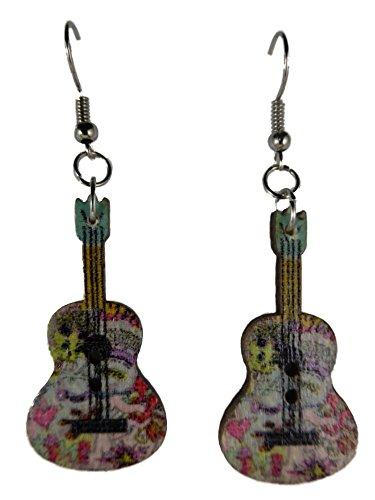 Ohrringe Ohrhänger Hänger Gitarre comic Style Musik Konzert Rock Country Holz 9133