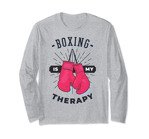 Boxeo Es Mi Terapia Amante Deportivo Entrenador Divertido Boxer Chica Manga Larga