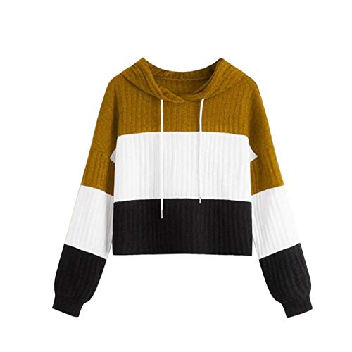 Youngaa 2021 Autumn O-Neck Patchwork Hooded Sweater Women Casual Long Sleeve Knitted Sweater Top Winter...