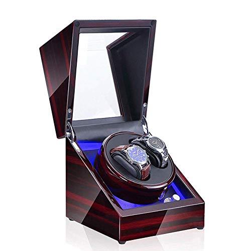 Caja enrolladora de reloj automática Caja enrolladora de reloj automática doble, interruptor LED Modo de ajuste de 5 velocidades Estuche de almacenamiento de madera de lujo para 2 relojes de pulsera