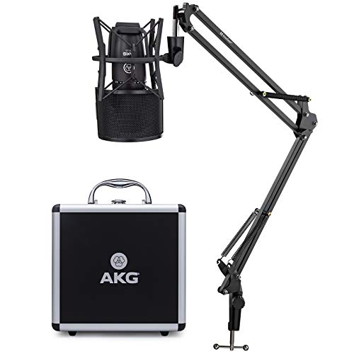 AKG P220 High-Performance Large Diaphragm True Condenser Microphone Bundle with Knox Gear Desktop Boom Scissor Arm Mic Stand & Knox Gear Pop Filter (3 Items)