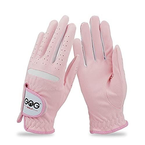 Zhicai Pack 1 Par Kvinnors Golfhandskar Rosa Micro Soft Fiber Andningsbar Anti-Slip Vänster och Höger Hand Sport Handskar Kvinnor Golfhandskar (Color : Pink, Size : 17 Small)