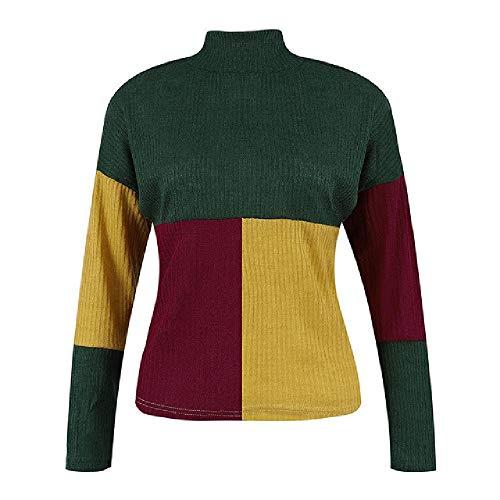 nobrand Damen Rollkragenpullover mit hohem Ausschnitt, Colorblock-Ständer, Lange Ärmel, Strickpullover für den Winter, Bluse Gr. M, grün