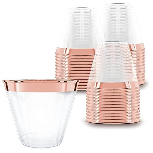 Viudecce Oro Rosa Vasos de PláStico Vaso Desechable de 9 Onzas Vaso...