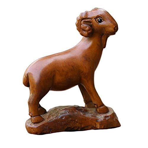 WSJF Escultura de la decoración del hogar de Madera Estatuas de Madera Zodiaco Chino, Feng Shui Decoración Accesorios Figura, hogar y Oficina, Buey (Color : Sheep)