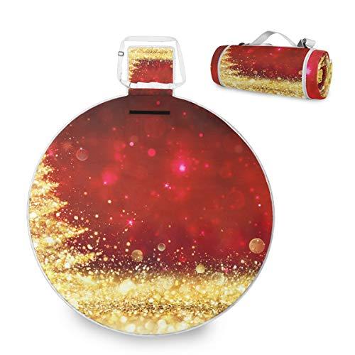 Shining - Manta de picnic grande para árbol de Navidad, impermeable, práctica esterilla de picnic para la familia, camping, playa, parque redondo, 59 pulgadas