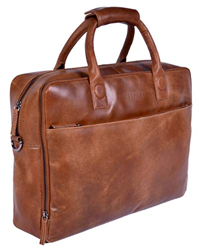 DSTRCT Fletcher November Leren Business Laptoptas - 17,3 inch laptopvak met rits - Cognac