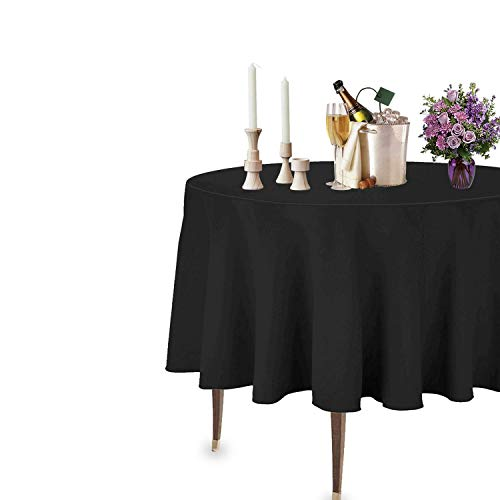 """Trimming Shop 90"""" Redonda Negro Cubierta de Tela de Mesa de poliéster Liso - Tejido de Lino Ancho Adecuado para Superficies Planas - para Banquetes, recepciones de Bodas, y Eventos"""