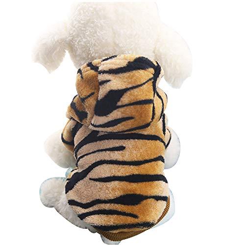 XG hond kostuum tijger jurk Teddy kat herfst en winter knop geschikt voor kleine huisdieren