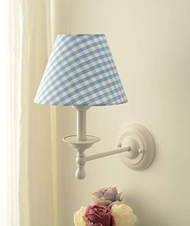 Amerikanische Gartenwandlampe Schlafzimmer Nachttischlampe Nordic moderne minimalistische Wohnzimmer Korridor Gang führte Wandleuchte, blaues Gitter
