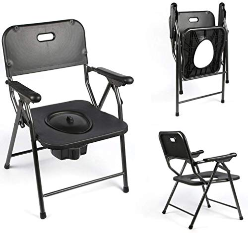 HYY-YY Aseo portátil, las mujeres mayores embarazadas inodoro silla plegable de acero inoxidable baño ducha silla multifunción de la tercera función de la anciana móvil del tocador