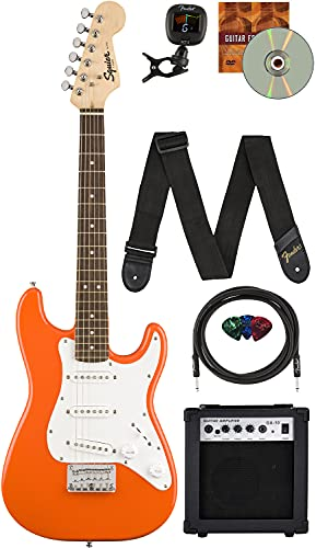 Fender Squier 3/4 Size Kids Mini Strat Electric Guitar Learn-to-Play Bundle w/ Amp, Cable, Tuner, Strap, Picks, Fender Play Online Lessons, and Austin Bazaar Instructional DVD - Competition Orange