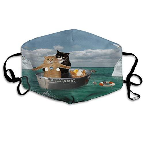 Mond Cover Grappige Catanic Katten Op Boot Anti Stofzuiger Oor Loops Herbruikbare Wasbare Gezichtsbescherming Mond Sjaal
