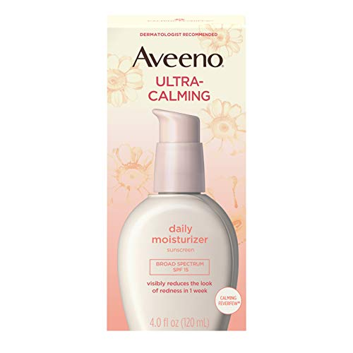 Aveeno Ultra-Calming Fragrance-Free Daily Facial Moisturizer for Sensitive, Dry Skin with SPF 15 Sunscreen, Calming Feverfew & Nourishing Oat, 4 fl. oz ( Pack of 2)