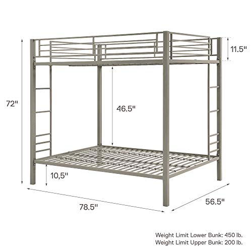 DHP Full over Full Bunk Bed for Kids, Metal Frame with Ladder (Silver)
