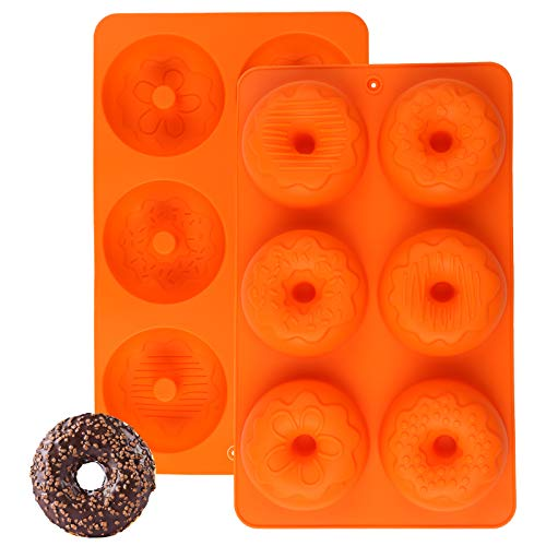 Silicone Donut Pan, Silicone Doughnut Baking Mold 1 Pc Non-stick Donut Molds for Cake Biscuit Bagels (Orange)