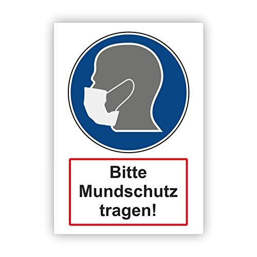 AufkleberDealer.de Mundschutzpflicht Schild 3mm, Mundschutz tragen, Uv-beständig DIN A4 Schild 21 x 29,7cm - Mundschutzpflicht Maskenpflicht