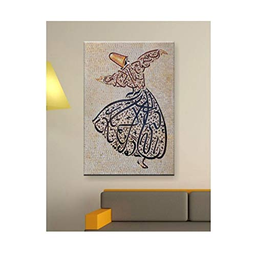 leomuzi Islam Arabic Muslim Painting Islamic Mevlana Rumi Sufism Whirling Dervish Wall Art Print on Canvas Pictures for Living Room Pictures Decorative -50x75cm No Frame