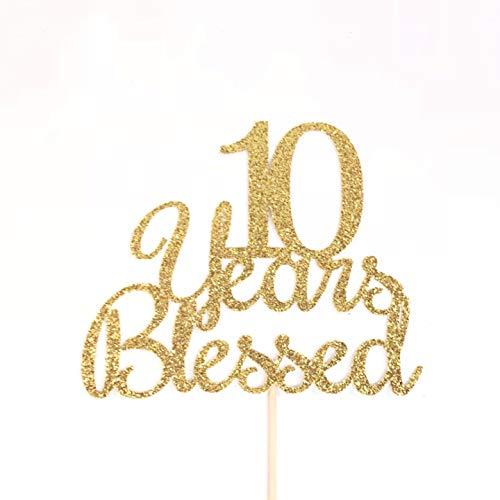 Decorazioni per torta con 10 anni di benedetta, 10 decorazioni per torta per decimo anniversario di matrimonio, 10 decorazioni per torta di compleanno