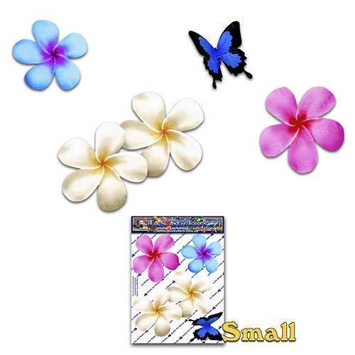 JAS Stickers® Frangipani Blume Schmetterling Auto Aufkleber - Mehrfarbig - Plumeria Tier Tropisch Klein Vinyl Aufkleber Pack Für Laptop Gepäck Fahrrad Wohnwagen Wohnmobile LKW & Boote - ST00024MC_SML