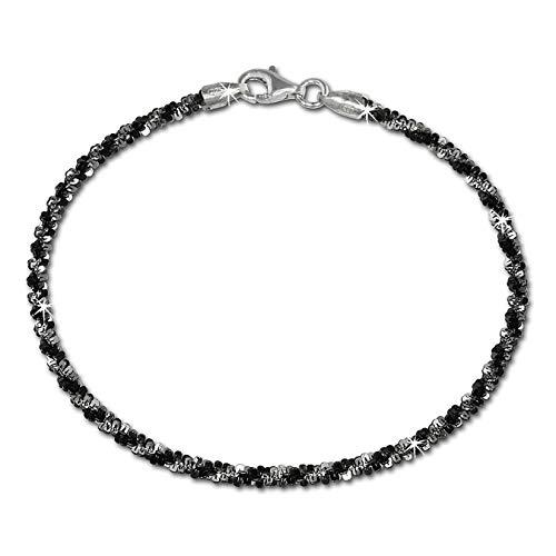 SilberDream Armschmuck 19cm schwarz Armband gedreht Damen 925 Silber SDA2039S