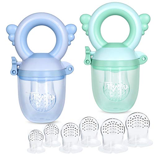 TILLYOU Baby Fresh Fruit Food Feeder Pacifier(2 Pack)-Training Infant Massage Teething Set with 6 Different Sized 100% Food Grade Safe & Soft Silicone Nipple Pouches for Toddlers & Kids Blue/Green