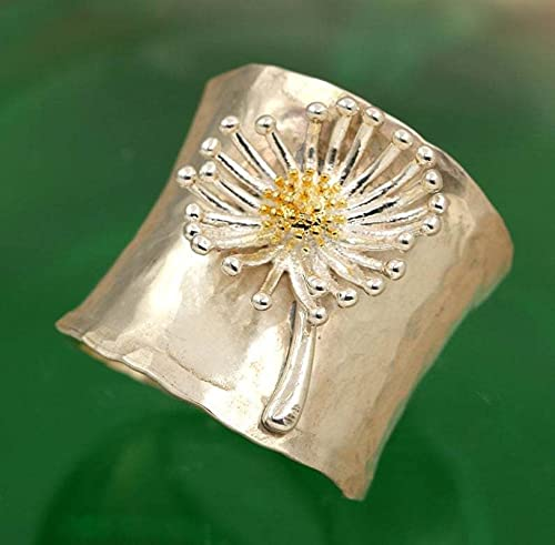 LINYIN 2pcs Carved Men's Ring Fashionable Personality Exaggerated Women's Color Separation Daisy Flower Ring 9号 Gukin